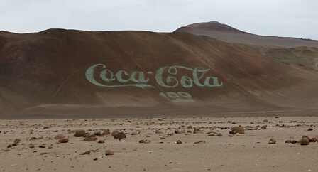 Coca-Cola logo at ground level