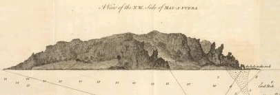 historic engraving of Isla Mas Afuera