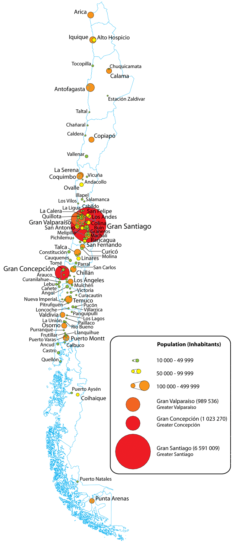 la densidad de la población de Chile por ciudad