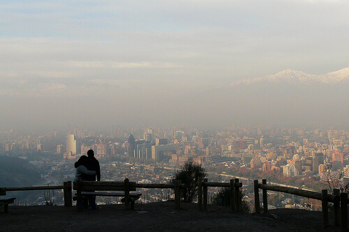 Smoggy view of Santiago