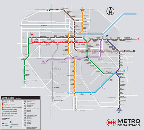 Santiago Chile Metro Map