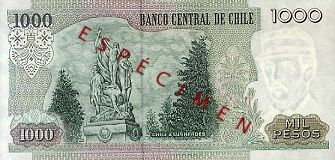 Old 1000 Chilean Pesos (back)