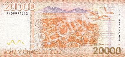 20000 pesos chilenos reverso