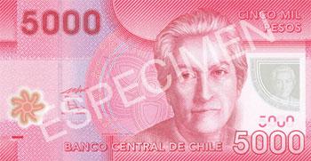 5000 pesos chilenos anverso